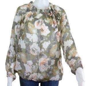 GIUSY Italian Luxury 100% Silk Flowered Top Size L